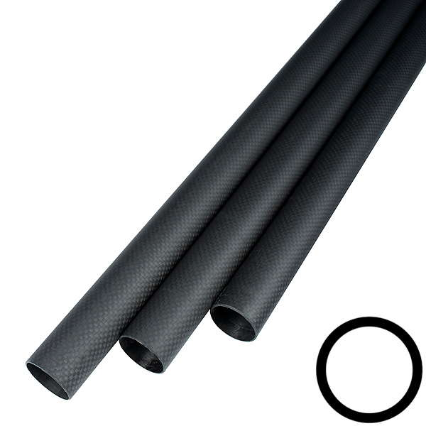 product image: Carbon fibre tubes wound, plain weave (3k) matt painted