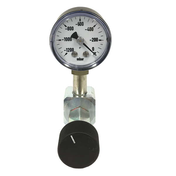 product image: Fine adjustment valve with vacuum gauge for vacuum pumps