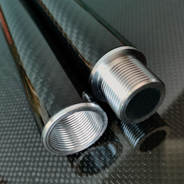 product image: Carbon round tube wound, 3k-TW (Ø 31 x 28) with threaded inserts