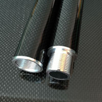 product image: Carbon round tube wound, 3k-PW (Ø 30 x 28) with threaded inserts