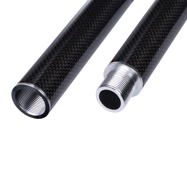 product image: Carbon round tube wound, 3k-PW (Ø 31 x 28) with threaded inserts