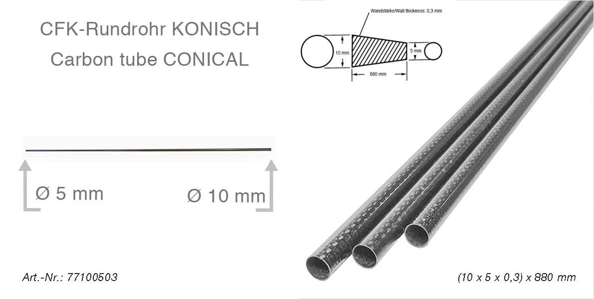 product image 1: Carbon fibre tubes (tapered/conical)