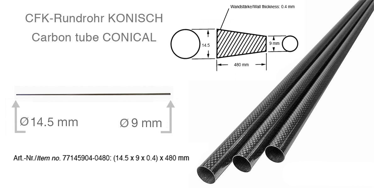 product image 2: Carbon fibre tubes (tapered/conical)