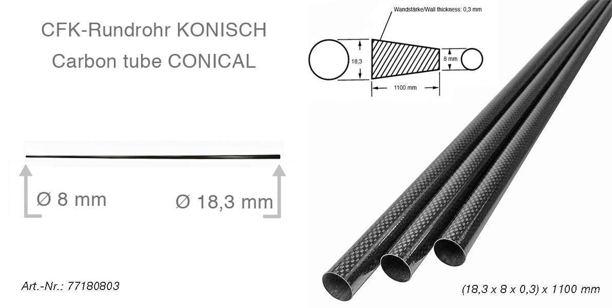 product image 3: Carbon fibre tubes (tapered/conical)