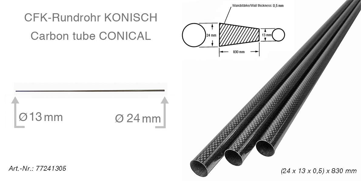 product image 4: Carbon fibre tubes (tapered/conical)