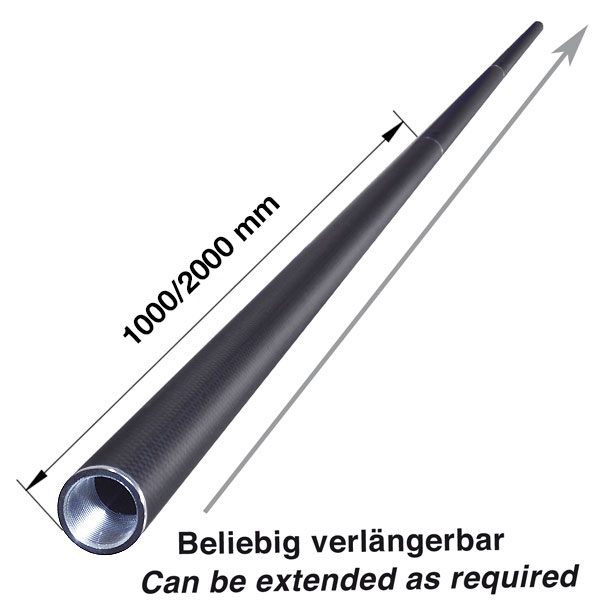 product image 3: Carbon round tube wound, 3k-PW (Ø 30 x 28) with threaded inserts