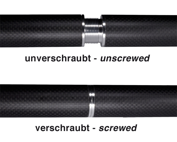 product image 1: Carbon round tube wound, 3k-TW (Ø 30 x 28) with threaded inserts